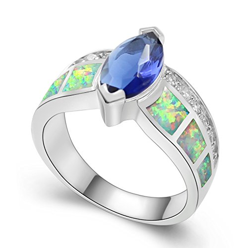 Charming Dark Blue Topaz 925 Silver Male Female Finger Ring with Opal Stone (7, (Charming Wholesale Jewelry)