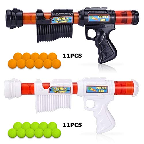 AUGSEP Power Popper Gun, Dual Battle Pack, with Soft Foam Ball Air Powered Toy Guns for Kids Role Playing with Their Family Members or PartnersBalls,Best Gift for Kids (Blast Air)