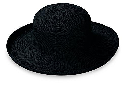 (Wallaroo Hat Company Women's Petite Victoria Sun Hat - Black - Packable, Modern Style, Petite Size, Designed in Australia.)