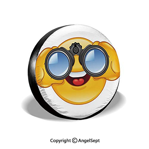 Spare Tire Cover,Smiley Face with a Telescope Binoculars Glasses Watching Outside Cartoon Print,Yellow and Blue,for Jeep Trailer SUV RV and Many Vehicles,17 Inch