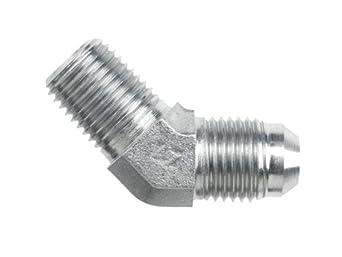 "Brennan 2503-04-04-SS, Stainless Steel JIC Tube Fitting, 04MJ-04MP 45 Degree Elbow, 1/4"" Tube OD x 1/4""-18 NPTF Male"
