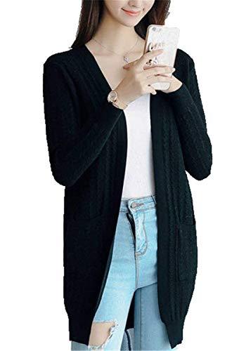 Casual Manica Aperto Grazioso Eleganti Cappotto Cardigan Fashion Autunno Schwarz A Relaxed Maglia Donne Monocromo Outerwear Forcella Parigine Pullover Lunga Primaverile Di Lunghe Moda nwzTPOfqY6