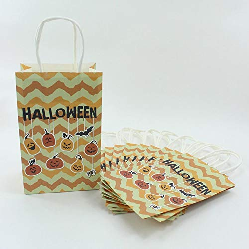CHITOP Paper Bag Halloween Ghost Style Handles - Festival Gift Bag Event Party Supplies Halloween Candy Box (10pcs) (Yellow) -