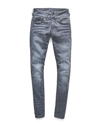 G-STAR RAW Damen Lynn D-Mid Waist Super Skinny Jeans, Grau (medium Aged 9296-071), 24W / 34L 4