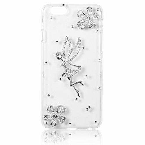 """JewelryWe 2 Blumen Engel Strass Handy Case Schutzhülle Tasche Hülle Rückenschutzhülle Etui für Apple iPhone 6(4,7"""") Transparent"""