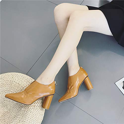 Autumn Heels Shoes Black Ladies Girls Pointed Spring And Fashion Comfortable Gentlemen In KPHY And High Rough 7Cm qAw6txvnaW