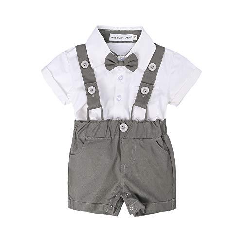 BIG ELEPHANT Baby Boys'2 Piece T-Shirt Suspender Shorts Clothing Set NA42 Gray (Months 2 Piece Pants)