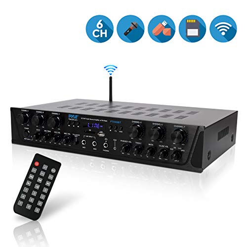 (Wireless Home Audio Amplifier System - Bluetooth Compatible Sound Stereo Receiver Amp - 6 Channel 600Watt Power, Digital LCD, Headphone Jack, 1/4'' Microphone In USB SD AUX RCA FM Radio - Pyle PTA66BT )