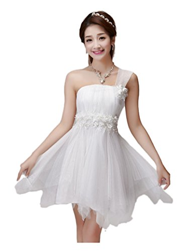 Bridesmaid CA Tulle Dress White Shoulder Mode Padded Women's Party One x7qYBORq