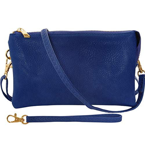 Humble Chic Vegan Leather Small Crossbody Bag or Wristlet Clutch Purse, Includes Adjustable Shoulder and Wrist Straps, Royal Blue, Cobalt (Ladies Handbags Xoxo)