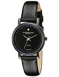 Stuhrling Original Women's 734L.03 Classic Ascot Castorra Elite Swiss Quartz Ultra Slim Genuine Diamond Black Watch