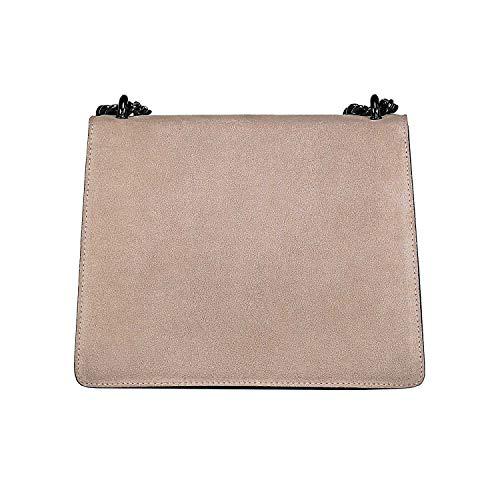 Liscia In myitalianbag Pochette Made Rachel Spalla Metallo Accessori E Chiaro A Tracola Pelle Tortora Italy Borsa Camoscio Catena z66nrx