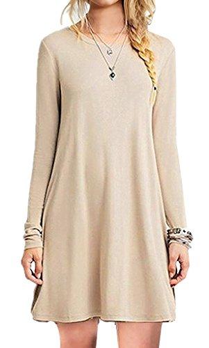 [iPretty Women's Casual Long Sleeve Loose Long T Shirt Tee Top Blouse Dress KHAKI] (Pink Renaissance Dress)