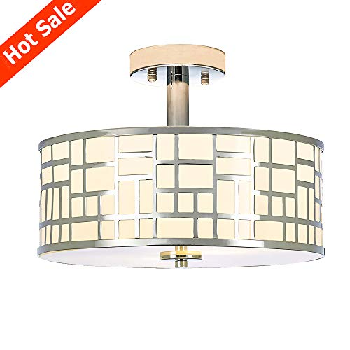 Popity Home 2 Light Chrome Finish Flush Mount Ceiling Light,Tempered Glass Ceiling Lamp