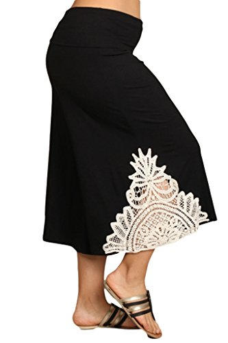HeyHun Women's Solid Lace Detail And Tie Dye Wide Leg Flared Capri Boho Gaucho Pants - Black