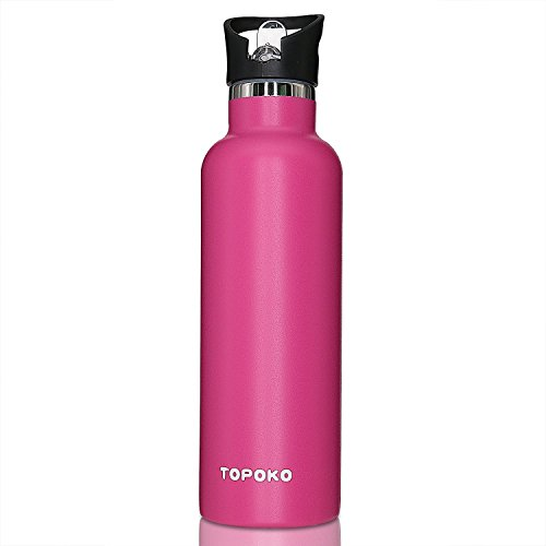 TOPOKO 25 OZ Double Wall Water Bottle Straw Lid with Handle, Vacuum Insulated Stainless Steel Bottle, Sweat Proof, Leak Proof Thermos Standard Mouth, Vacuum Seal Cap Mug (Rose)