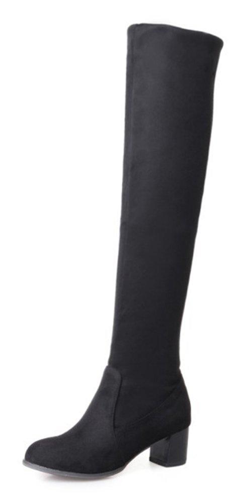 Aisun Femme B005FLTVFE Mode Noir Tige Style Tige Haute Slip On Bottes Noir e74eac1 - piero.space
