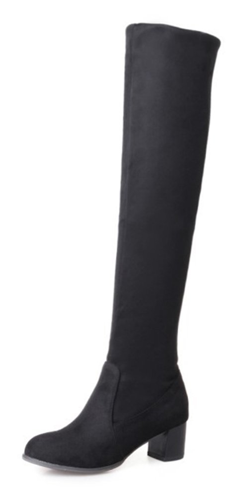 Aisun Femme Mode B000LSXRV0 Style Tige Aisun Haute Slip Bottes On Bottes Noir 136f69a - piero.space