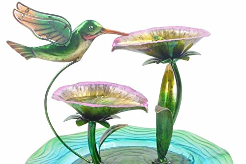 Indoor Hand Painted Hummingbird Glass Tabletop Water Fountain