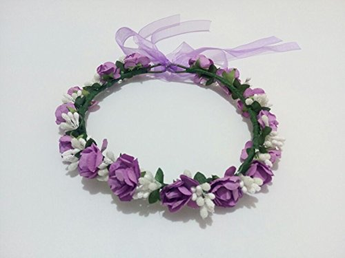 Wedding-Bridal-Hippy-Paper-Flowers-Artificial-Berries-Wreath-Fairy-Princess-Headband-Garland-for-Hair-Floral-Bride-for-Bridesmaids-Flower-Girl-Head-Crown-Headwear-Headpiece-Purple
