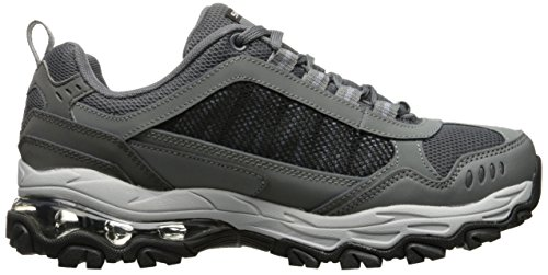 Piel M Bajos Talla Hombres Gris Zapatos Air Skechers amp; Para Caminar fit negro Medios Cordon 8FqwA