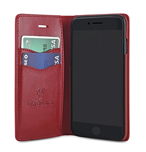 DWBCases iPhone 6s Wallet case, iPhone 6 case Wallet | Premium Leather Flip Design for iPhone | Lightweight Wallet Card Holder w/ID Slots | Plus Microfiber Cleaning Cloth (Red)