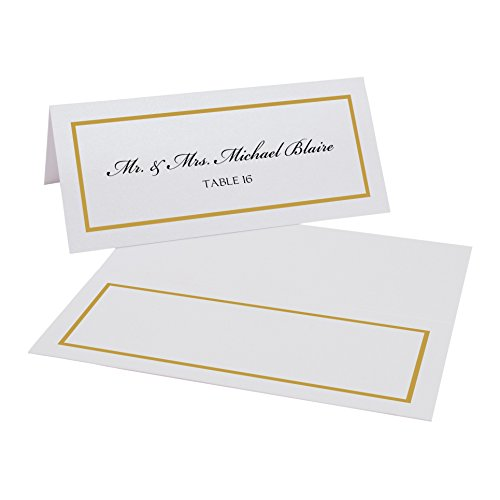 Documents and Designs Border Place Cards (Select Color), White, Gold, Pack of 30