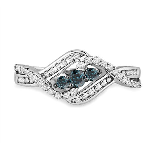 Sterling Silver Blue and White Round Diamond Twisted Fashion Ring (1/3 cttw) by D-GOLD