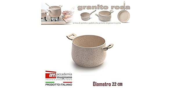 Olla 22cm antiadherente de efecto piedra Diamond Tech GRANITO ROSA: Amazon.es: Hogar