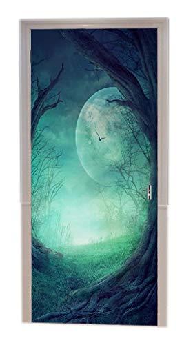 A.Monamour Halloween Gothic Autumn Valley with Woods Spooky Tree Round Opening Full Moon Scene Art Print Vinyl Room Door Decals Wallpaper Wall Murals Removable Door Stickers Posters DIY Art Decors ()