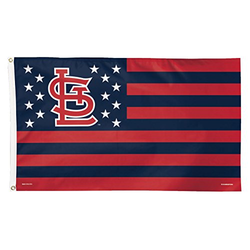 MLB St. Louis Cardinals Stars and Stripes Deluxe Flag, 3 x 5', (Cardinal 3 Stripe)