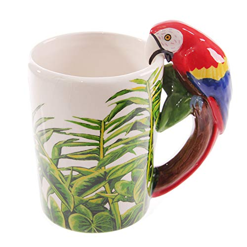 Large Parrot Mug - LUCKSTAR 3D Mug Animal-Hand-painted Ceramic Animal Coffee Mugs Wildlife Series Milk Cup (parrot)