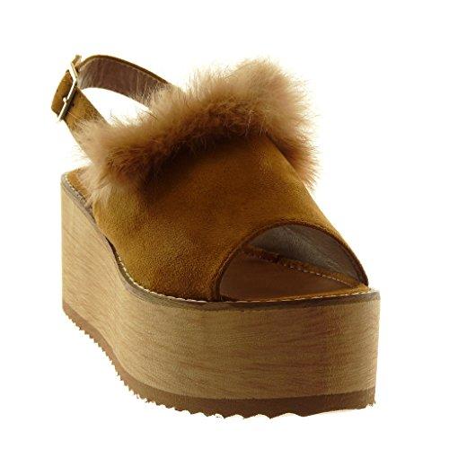 Angkorly Damen Schuhe Mule Sandalen - Knöchelriemen - Plateauschuhe - Peep-Toe - Pelz - Wooden - String Tanga Keilabsatz High Heel 8 cm Camel