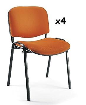 4x - Silla confidente para oficina - Silla tapizada color NARANJA ...