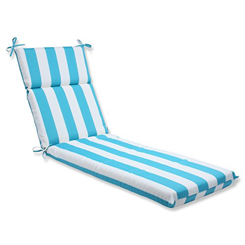 Furniture Cabana Outdoor - Pillow Perfect Outdoor Cabana Stripe Chaise Lounge Cushion, Turquoise