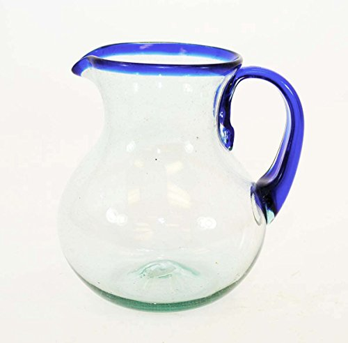 Blue Rimmed Ball Pitcher, Approx. 80 Ounces, Handmade in - Ounce 80 Pitcher
