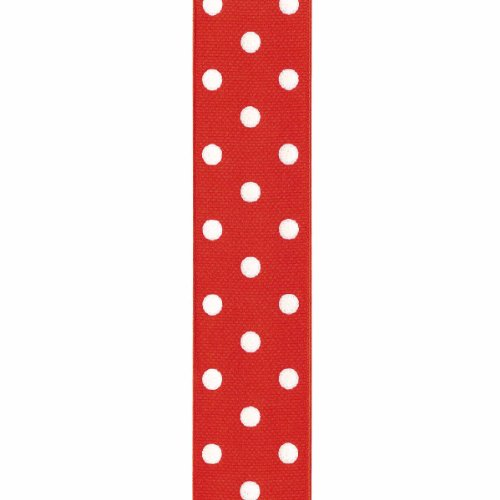 Offray Grosgrain Polka Dot Craft Ribbon, 1 1/2-Inch x 9-Feet, Red