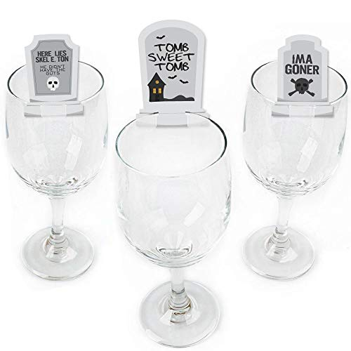 Graveyard Tombstones - Shaped Halloween Party Wine Glass Markers - Set of -