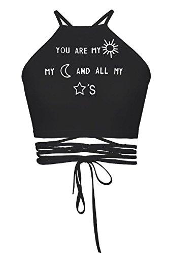 Women's Girls Cartoon Print Crisscross Halter Vest Crop Tops Tanks Camis Words