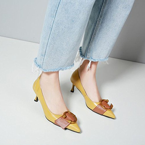 Women Spring Leather High-heeled Shoes Metal Buckle Color Matching Shallow Shoes Court Shoes For Daily Party Dress Pumps Yellow htvTWXh