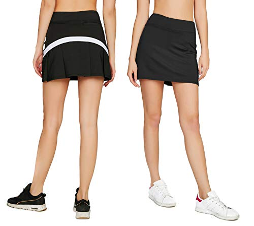 buy online fad09 6a1c1 Cityoung Women s Casual Pleated Tennis Golf Skirt with Underneath Shorts  Running Skorts bk wh m