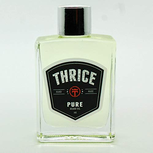 Thrice Pure Unscented Beard Oil (.5 oz) All Natural Leave in Beard Conditioner and Softener - Beard Oil for Men Helps to Promote Beard Growth and Conditioning for Healthy Beards Facial Hair and Skin
