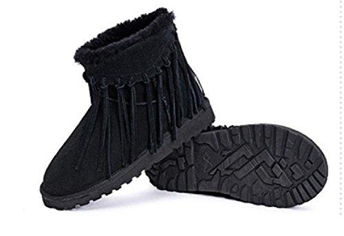 Zapatos bajos de la borla del tubo de las mujeres calientes de los zapatos de la zalea black