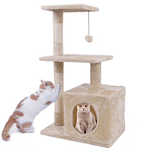 Rascador para gatos, árbol para rascar, altura 85 cm, con pelota, natural, columna juguete para gatos, para dormir, 2 pisos: Amazon.es: Productos para ...