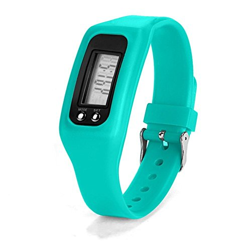 Iuhan® Fashion Digital LCD Pedometer Run Step Walking Distance Calorie Counter Watch Bracelet (Sky - Watch Lcd Bracelet