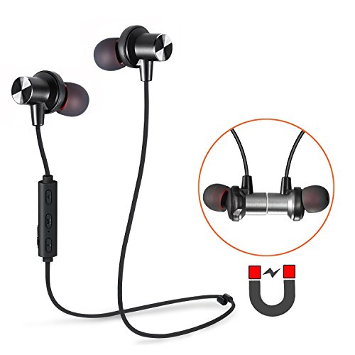 Bluetooth Earbuds, Tesson Wireless V4.1 Magnetic Headphones Super Bass Stereo Noise Cancelling Earphones, Sweat proof Comfortable , Secure Fit for Sports with Built-in Mic(Black)