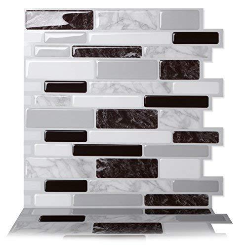 Tic Tac Tiles - Premium Anti-Mold Peel and Stick Wall Tile in Polito Black&White (10 ()