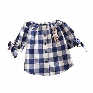Diseño de lazo, diseño de cuadros camiseta de algodón niña niños Rojo y azul Camisa Tops: Amazon.es: Hogar