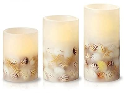 Loft Living 3 Piece LED Flameless Seashell Pillar Candle Set
