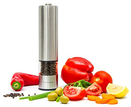 Best Pepper Grinder or Salt Grinder Mill – Premium Stainless Steel One-Handed Automatic Battery Operated Spice Shaker - Adjustable– With LED Light at Bottom